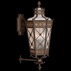 Chateau Outdoor Four-Light Medium Outdoor Wall Mount in Variegated Rich Umber Patina with Gold Accents Finish and Antiqued Glass