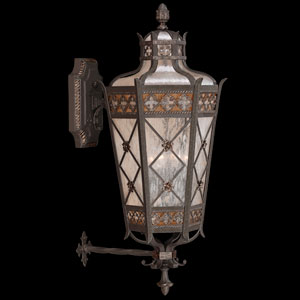 Chateau Outdoor Four-Light Large Outdoor Wall Mount in Variegated Rich Umber Patina Finish with Gold Accents and Antiqued Glass