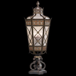 Chateau Outdoor Five-Light Outdoor Pier Mount in Variegated Rich Umber Patina Finish