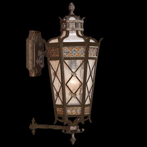Chateau Outdoor One-Light Small Outdoor Wall Mount in Variegated Rich Umber Patina Finish with Gold Accents and Antiqued Glass