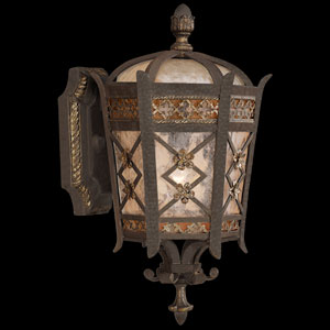 Chateau Outdoor One-Light Extra Small Outdoor Wall Mount in Variegated Rich Umber Patina Finsh with Gold Accents and Antiqued Glass