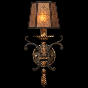 Epicurean One-Light Wall Sconce in Charred Iron Finish with Hand Tailored Shade of Decorated Mica Accented By Burnished Gold