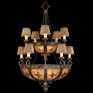 Castile 10-Light Chandelier in Warm Antiqued Gold Finish and Features Two with Tiered Illuminated Mica Panel Coupe