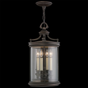 Louvre Four-Light Outdoor Lantern in Bronze Finish