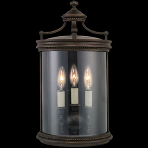 Louvre Three-Light Outdoor Wall Sconce in Bronze Finish