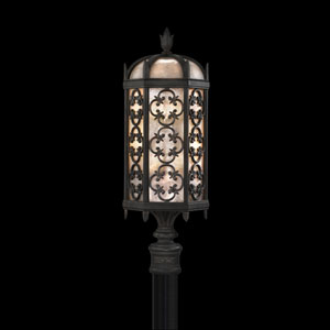 Costa Del Sol Three-Light Outdoor Post Mount in Wrought Iron Finish