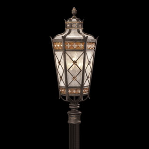Chateau Outdoor Five-Light Outdoor Post Mount in Variegated Rich Umber Patina Finish