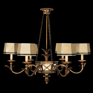 Newport Six-Light Chandelier in Rustic Burnished Gold Finish with Silver Highlights