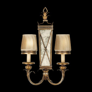 Newport Two-Light Wall Sconce in Rustic Burnished Gold Finish with Silver Highlights