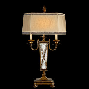 Newport Two-Light Table Lamp in Rustic Burnished Gold Finish with Silver Highlights