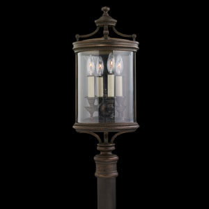 Louvre Four-Light Outdoor Adjustable Pier/Post Mount in Bronze Finish