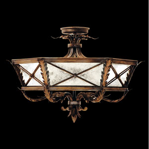 Newport Three-Light Semi-Flush Mount in Rustic Burnished Gold with Silver Highlights Finish
