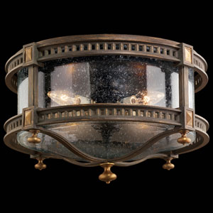 Beekman Place Four-Light Outdoor Flush Mount in Woodland Brown Finish and Gold Highlights