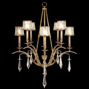 Monte Carlo Eight-Light Chandelier in Gently Worn Gold Leaf Finish