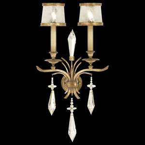 Monte Carlo Two-Light Wall Sconce in Gently Worn Gold Leaf Finish
