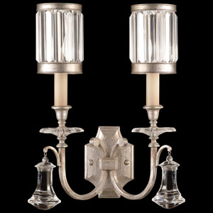 Eaton Place Silver Two-Light Wall Sconce in Warm Muted Silver Leaf Finish