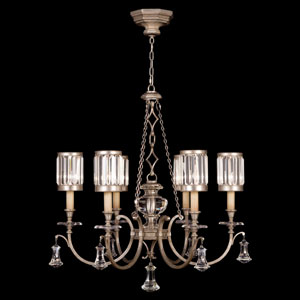 Eaton Place Silver Six-Light Chandelier in Warm Muted Silver Leaf Finish