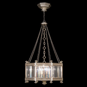 Eaton Place Silver Eight-Light Pendant in Warm Muted Silver Leaf Finish