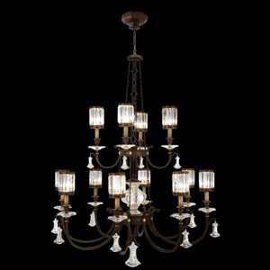 Eaton Place 12-Light Chandelier in Rustic Iron Finish