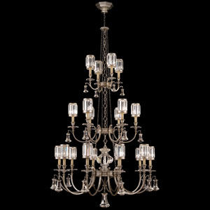 Eaton Place Silver 20-Light Chandelier in Warm Muted Silver Leaf Finish