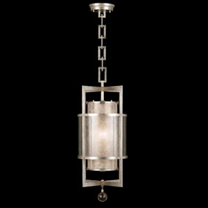Singapore Moderne Silver One-Light Lantern in Warm Muted Silver Leaf Finish with Warm Translucent Mica Shade