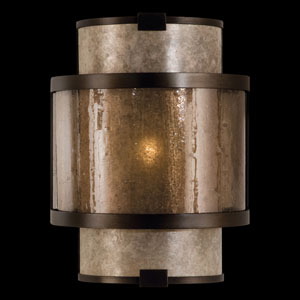 Singapore Moderne One-Light Coupe Wall Sconce in Brown Patinated Bronze Finish and Warm Interior Translucent Mica Shade