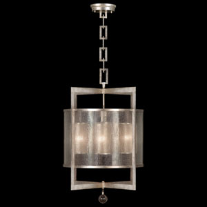 Singapore Moderne Silver Four-Light Lantern in Warm Muted Silver Leaf Finish with Warm Translucent Mica Shade