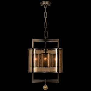 Singapore Moderne Four-Light Lantern in Brown Patinated Bronze Finish