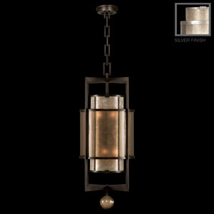 Singapore Moderne Silver Six-Light Lantern in Warm Muted Silver Leaf Finish with Warm Translucent Mica Shade