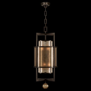 Singapore Moderne Six-Light Lantern in Brown Patinated Bronze Finish and Warm Interior Translucent Mica Shade