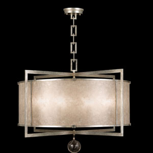 Singapore Moderne Silver Eight-Light Pendant in Warm Muted Silver Leaf Finish with Warm Translucent Mica Shade