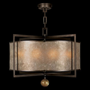 Singapore Moderne Eight-Light Pendant in Brown Patinated Bronze Finish and Warm Translucent Round Mica Shade