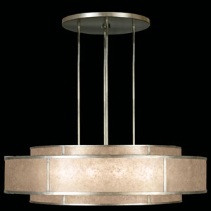 Singapore Moderne Silver 12-Light Pendant in Warm Muted Silver Leaf Finish with Warm Translucent Mica Shade
