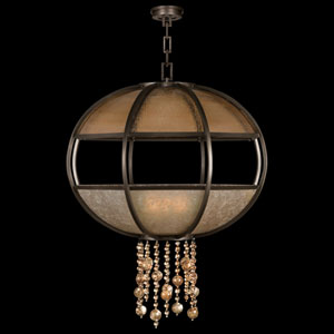 Singapore Moderne Eight-Light Pendant in Brown Patinated Bronze Finish