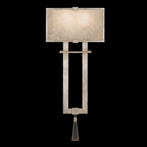 Singapore Moderne Silver Two-Light Wall Sconce in Warm Muted Silver Leaf Finish with Warm Translucent Mica Shade