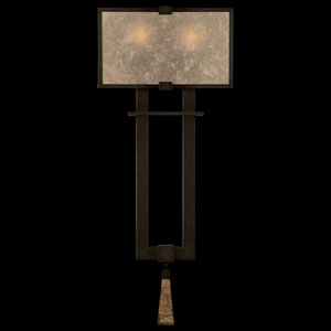 Singapore Moderne Two-Light Wall Sconce in Brown Patinated Bronze Finish