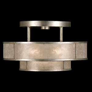 Singapore Moderne Silver Three-Light Semi-Flush Mount in Warm Muted Silver Leaf Finish with Warm Translucent Mica Shade