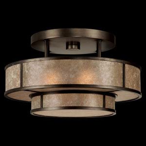Singapore Moderne Three-Light Semi-Flush Mount in Brown Patinated Bronze Finish and Warm Translucent Mica Shade