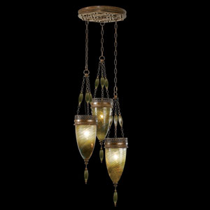 Scheherazade Three-Light Pendant in Aged Dark Bronze Finish and Hand Blown Glass in Vibrant Oasis Green Color