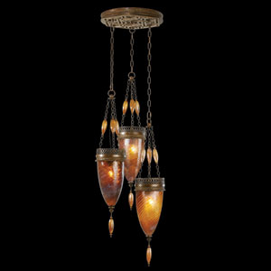 Scheherazade Three-Light Pendant in Aged Dark Bronze Finish and Hand Blown Glass in Vibrant Amber Dunes Color