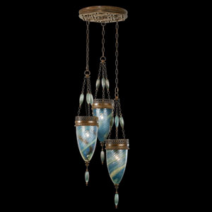 Scheherazade Three-Light Pendant in Aged Dark Bronze Finish and Hand Blown Glass in Vibrant Desert Sky Blue Color