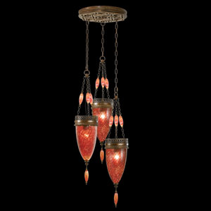 Scheherazade Three-Light Pendant in Aged Dark Bronze Finish and Hand Blown Glass in Vibrant Sunset Red Color