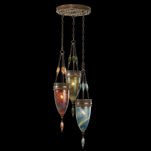 Scheherazade Three-Light Pendant in Aged Dark Bronze Finish and Hand Blown Glass in Vibrant Amber Dunes, Desert Sky Blue, and Oasis Green Colors