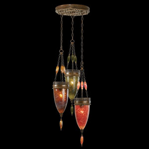 Scheherazade Three-Light Pendant in Aged Dark Bronze Finish and Hand Blown Glass in Vibrant Oasis Green, Amber Dunes and Sunset Red Colors