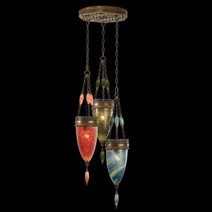 Scheherazade Three-Light Pendant in Aged Dark Bronze Finish and Hand Blown Glass in Vibrant Oasis Green, Desert Sky Blue and Sunset Red Colors