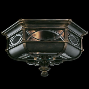 Warwickshire Three-Light Outdoor Flush Mount in Wrought Iron Patina Finish