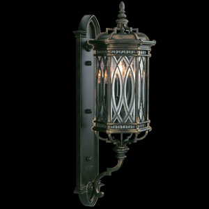 Warwickshire Three-Light Outdoor Wall Mount in Wrought Iron Patina Finish