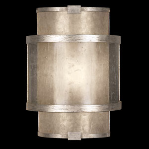 Singapore Moderne Silver One-Light Coupe Wall Sconce in Warm Muted Silver Leaf Finish with Warm Translucent Mica Shade