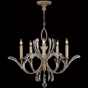 Beveled Arcs Five-Light Chandelier in Warm Muted Silver Leaf Finish