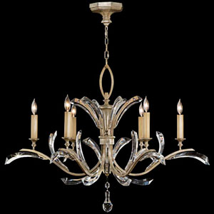 Beveled Arcs Six-Light Chandelier in Warm Muted Silver Leaf Finish